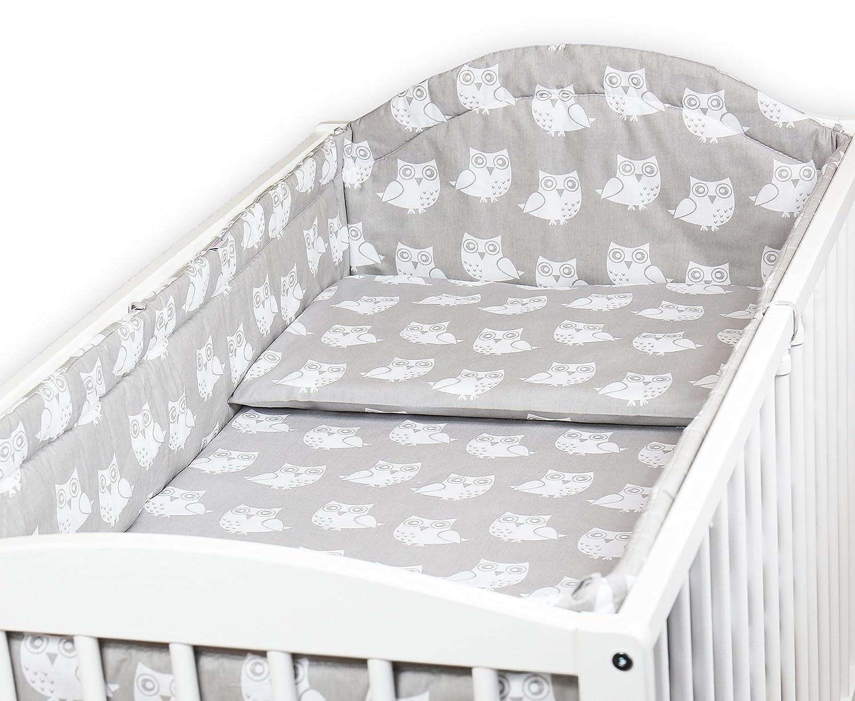 FOX GREY BABY BEDDING SET ALLROUND BUMPER PILLOW COVER DUVET COVER FOR COT BED 140x70CM SET 3PCS