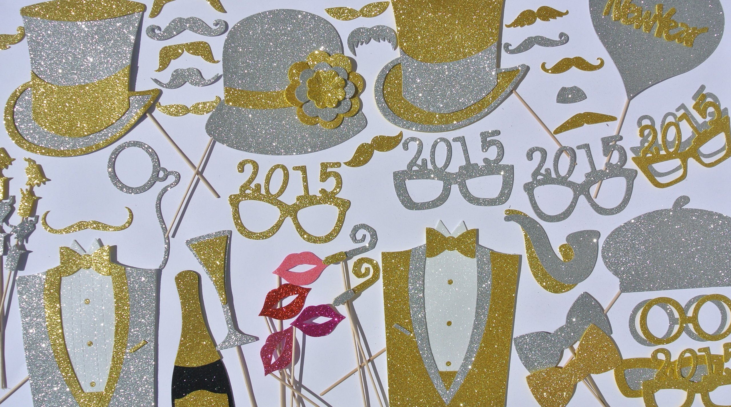 New Years 2015 Glasses Photo Booth Props 69 Party Favors by PICWRAP