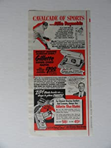 Gillette super-speed razor, 50's Print Ad. color Illustration, print ad (Allie Reynolds) Original Vintage 1952 the American Magazine Print artstore link [www.amazon.com/shops/ads-thru-time]
