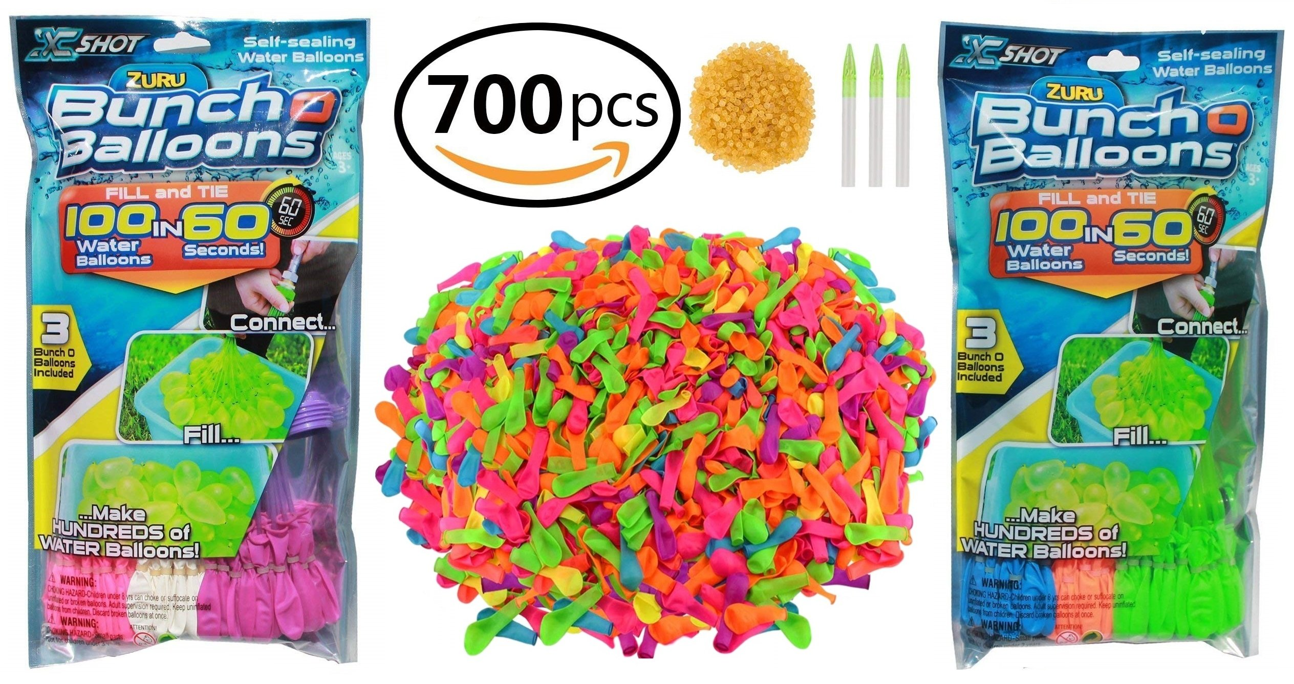 Shark Shop Zuru Bunch O Balloons Instant Self Sealing No Tying Quick Fill Water Balloons| Bundled 700 Piece Summer Party Toy Gift Set| 200 Pack (6 Bunch of Balloons) 500 Pack Rapid Refill Kit