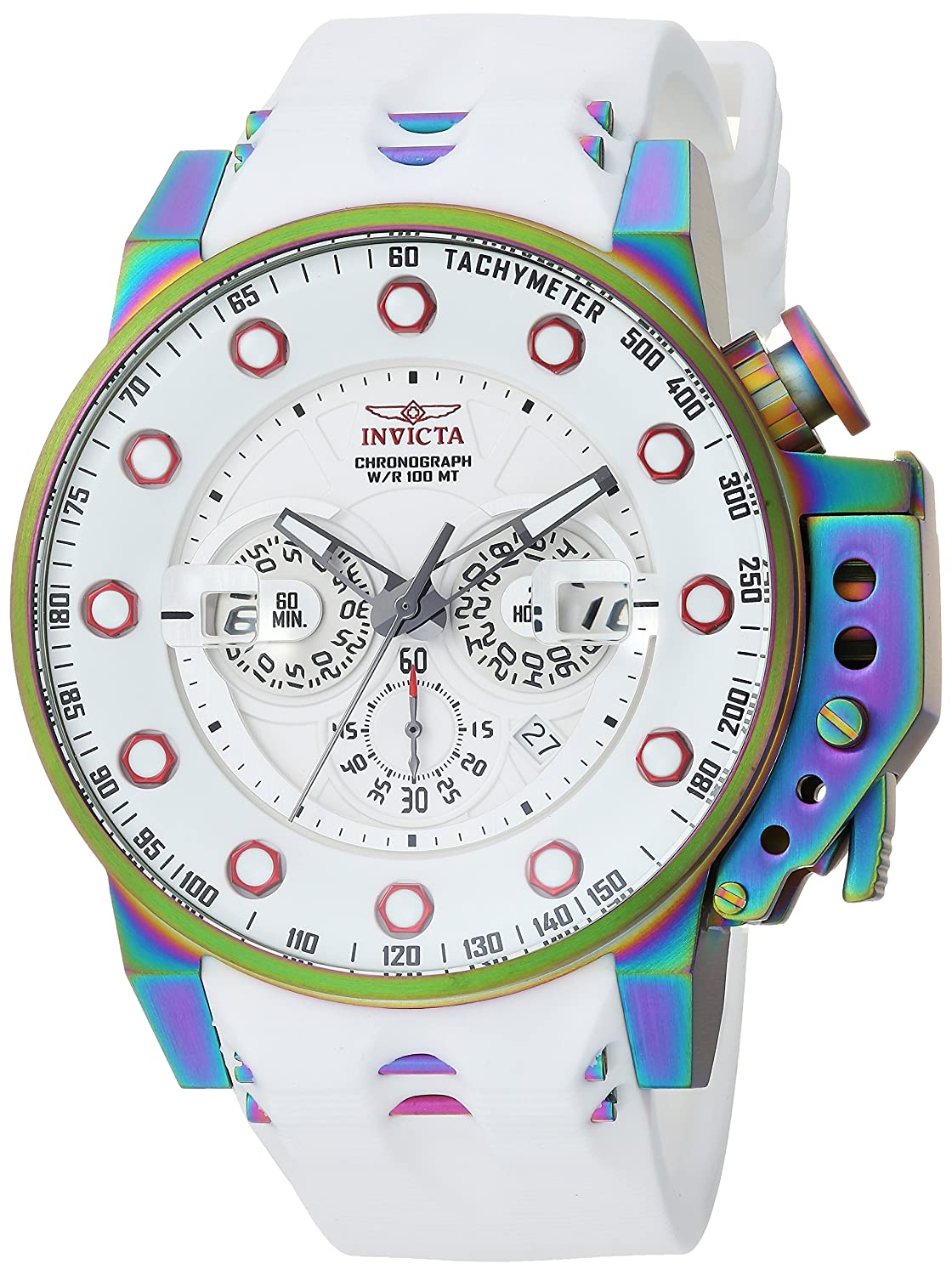 Amazon.com: Invicta Mens I- I-Force Stainless Steel Quartz Watch with Silicone Strap, White, 24 (Model: 25277: Watches