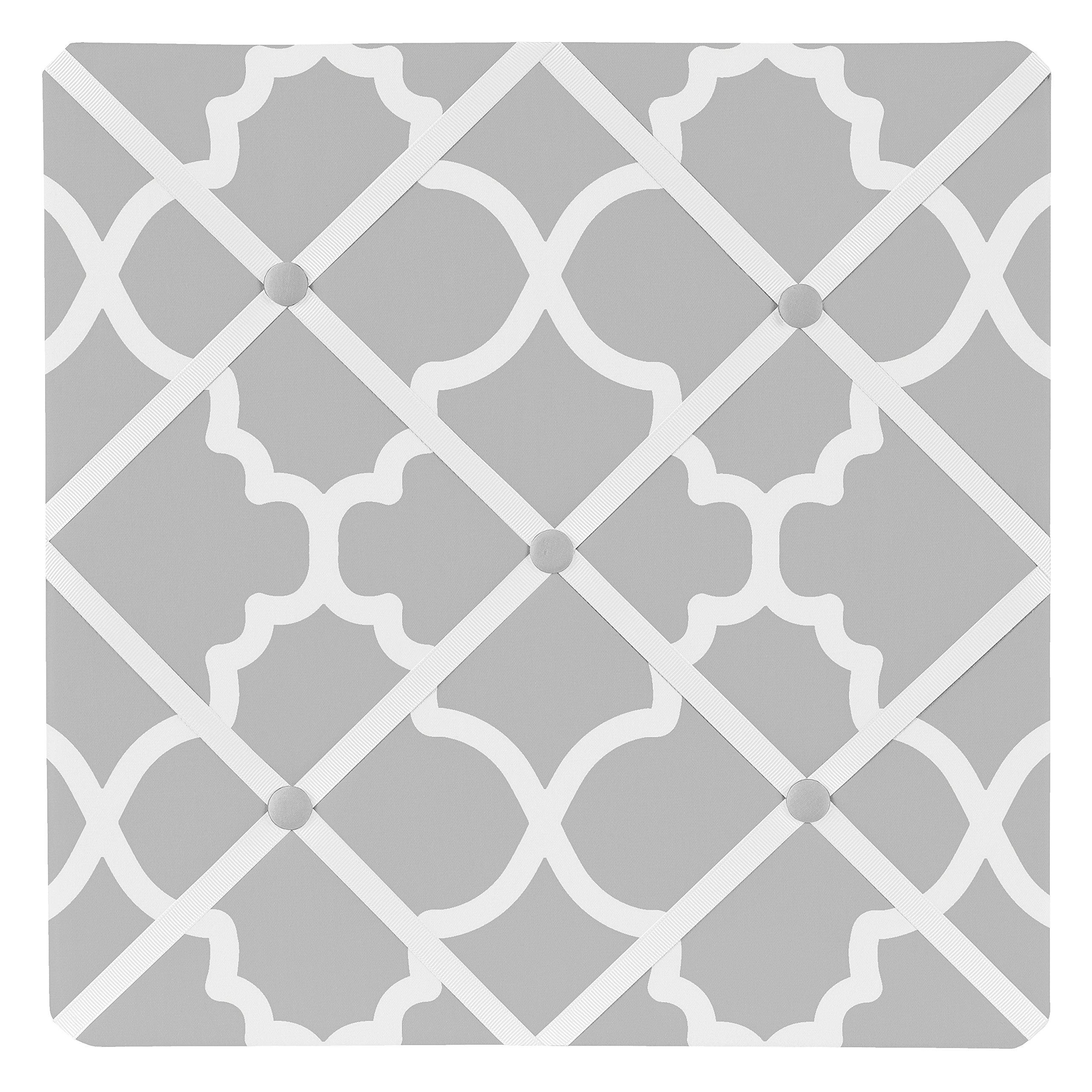 Sweet Jojo Designs Gray and White Trellis Print Lattice Fabric Memory/Memo Photo Bulletin Board by Sweet Jojo Designs