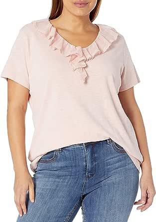 CHAPS Women's Plus Size Ruffled Lace Collar Soft Cotton T Shirt