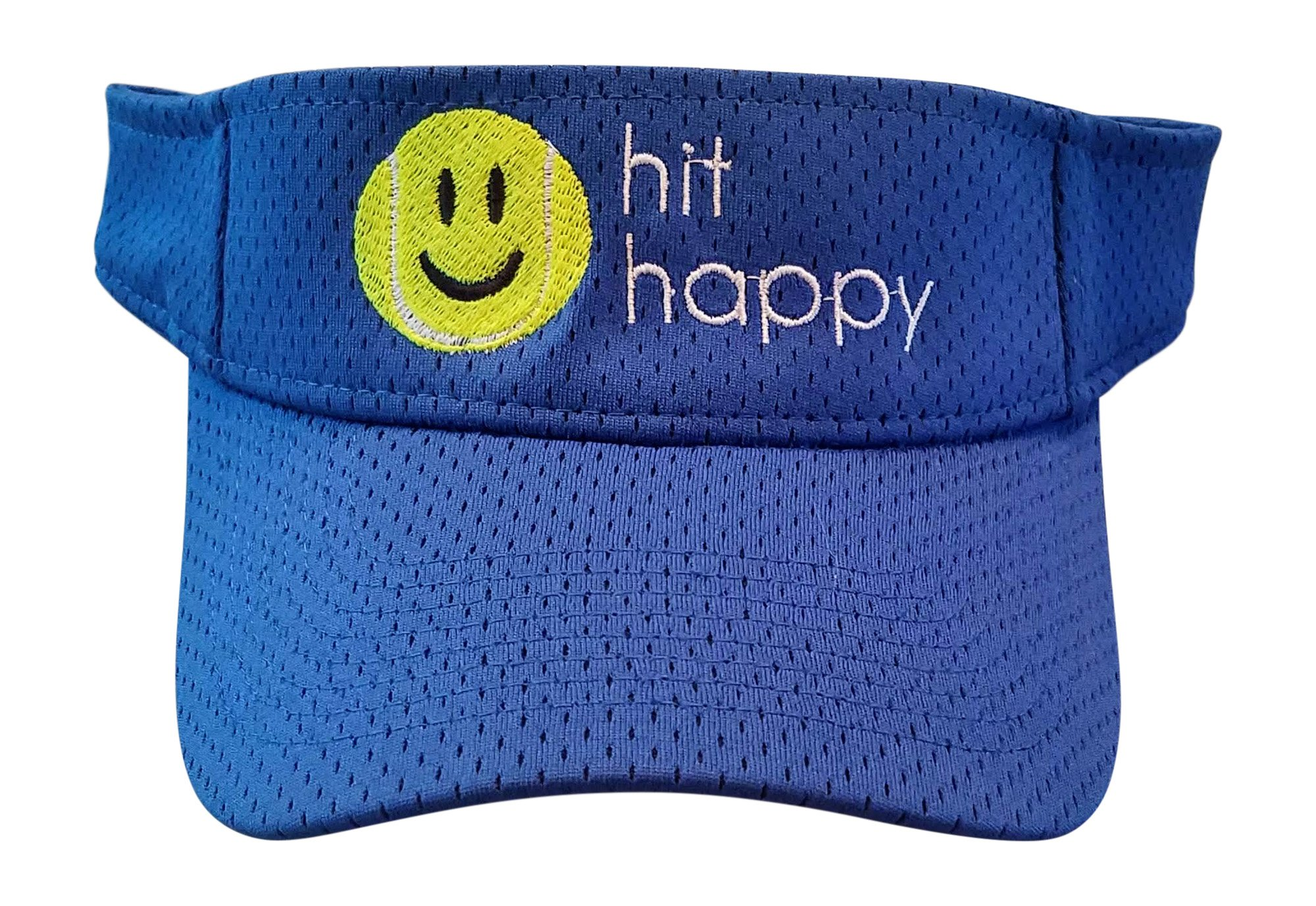 Tennis Visor Hit Happy, Perfect Tennis Visors for Women, Adjustable Velcro Strap, Great for On The Tennis Court Off (Royal Blue)