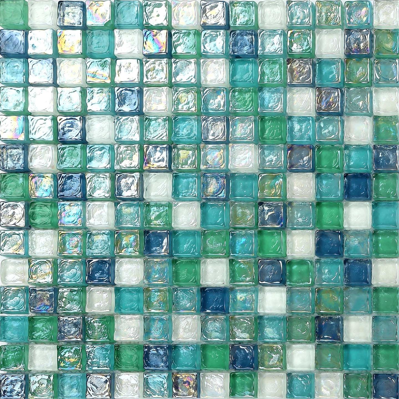 Green Blue & White Hammered Swirl Glass Mosaic Tiles Sheet (MT0052) (1 Sheet) Grand Taps