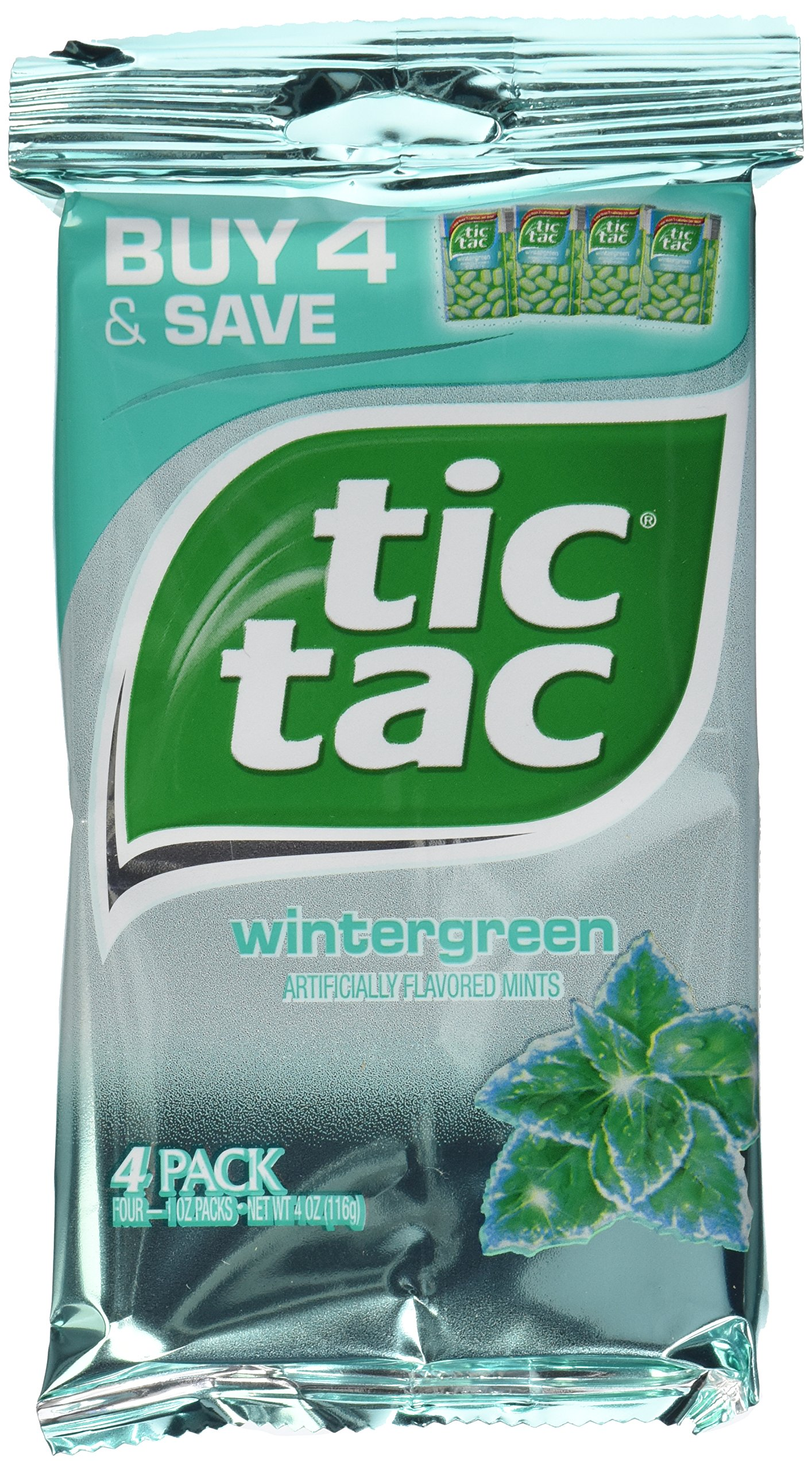 Tic Tac Wintergreen, 6 Packages of 4 x 1oz Multipacks (24 packs total)