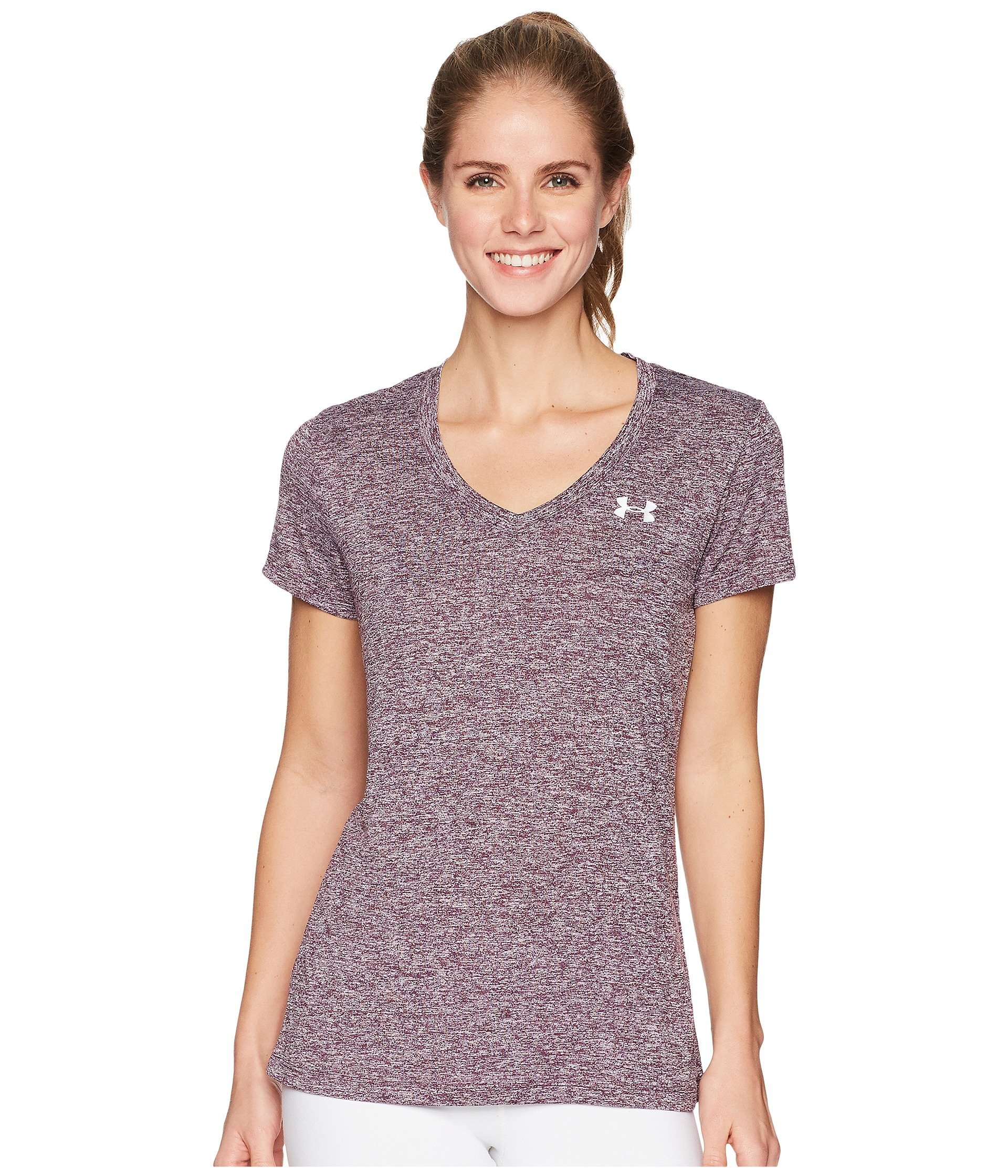 Under Armour Women's UA Tech¿ Twist V-Neck Merlot/Metallic Silver X-Small by Under Armour (Image #1)