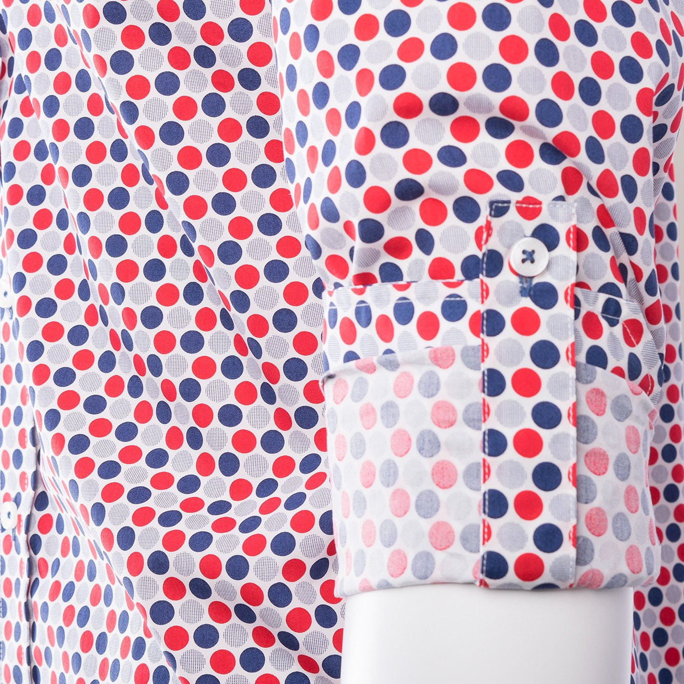 Red White and Blue Polka-Dot Pattern Modern Fit Tiglio Sport Shirt
