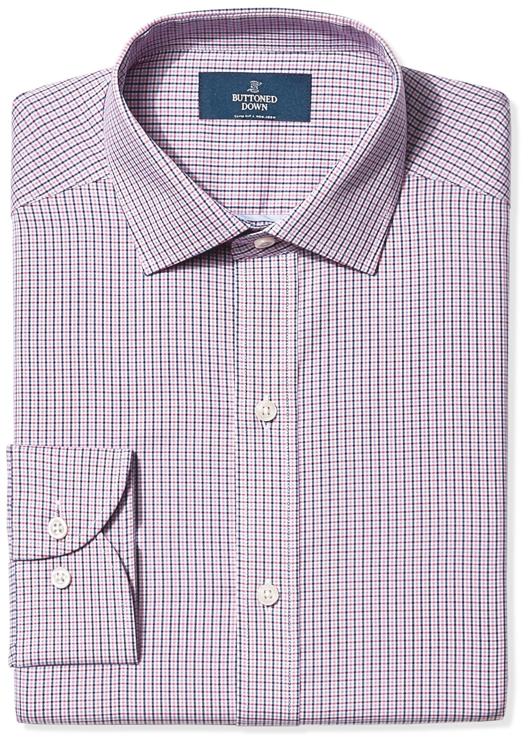 Buttoned Down Men's Slim Fit Spread-Collar Non-Iron Dress Shirt, Berry/Red/Navy Tatersol, 17.5'' Neck 37'' Sleeve by Buttoned Down (Image #1)