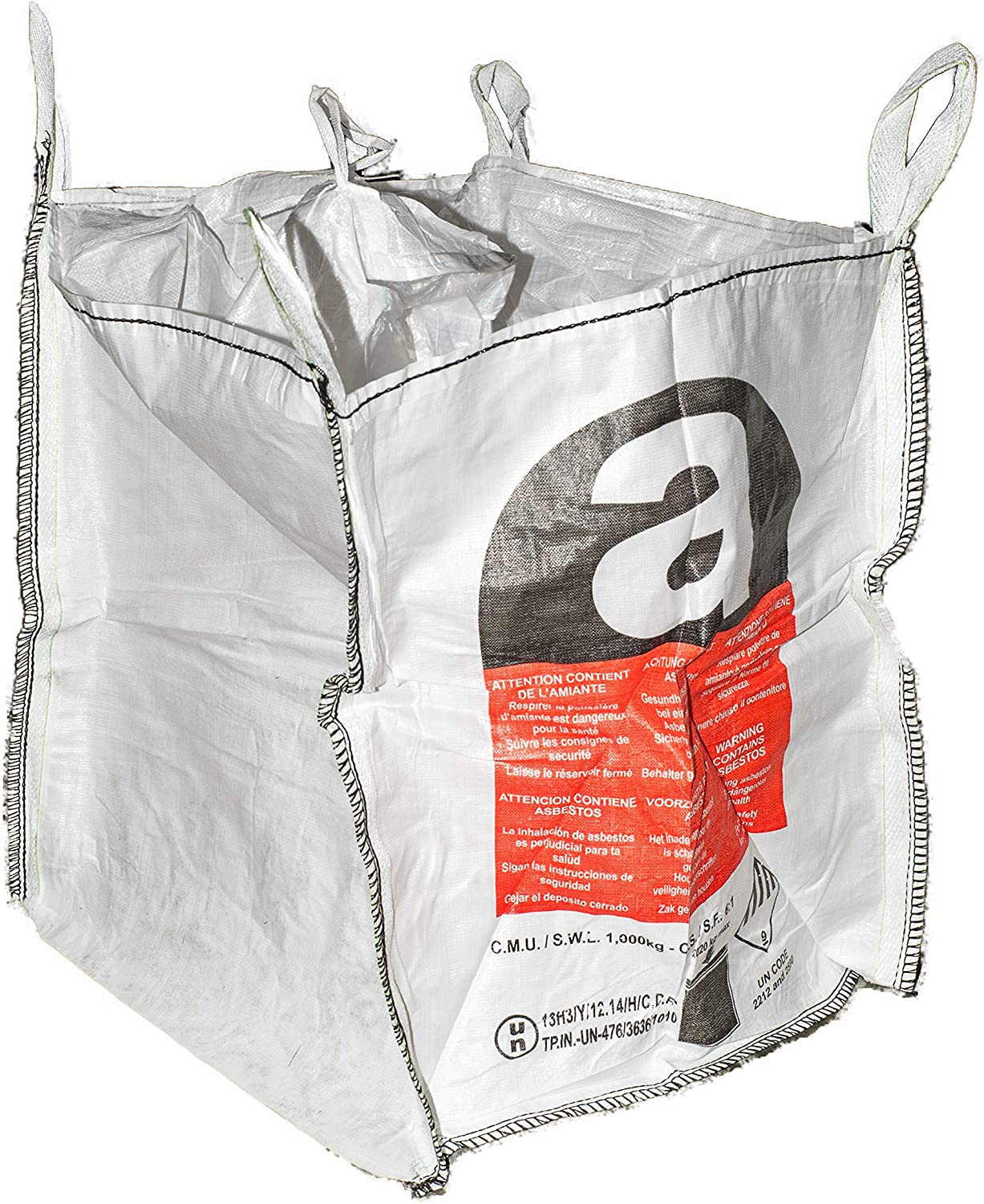 PROGUARD 92X92X105CM FIBC ASBESTOS BAGS WITH SKIRT AND POLY LINER-UN