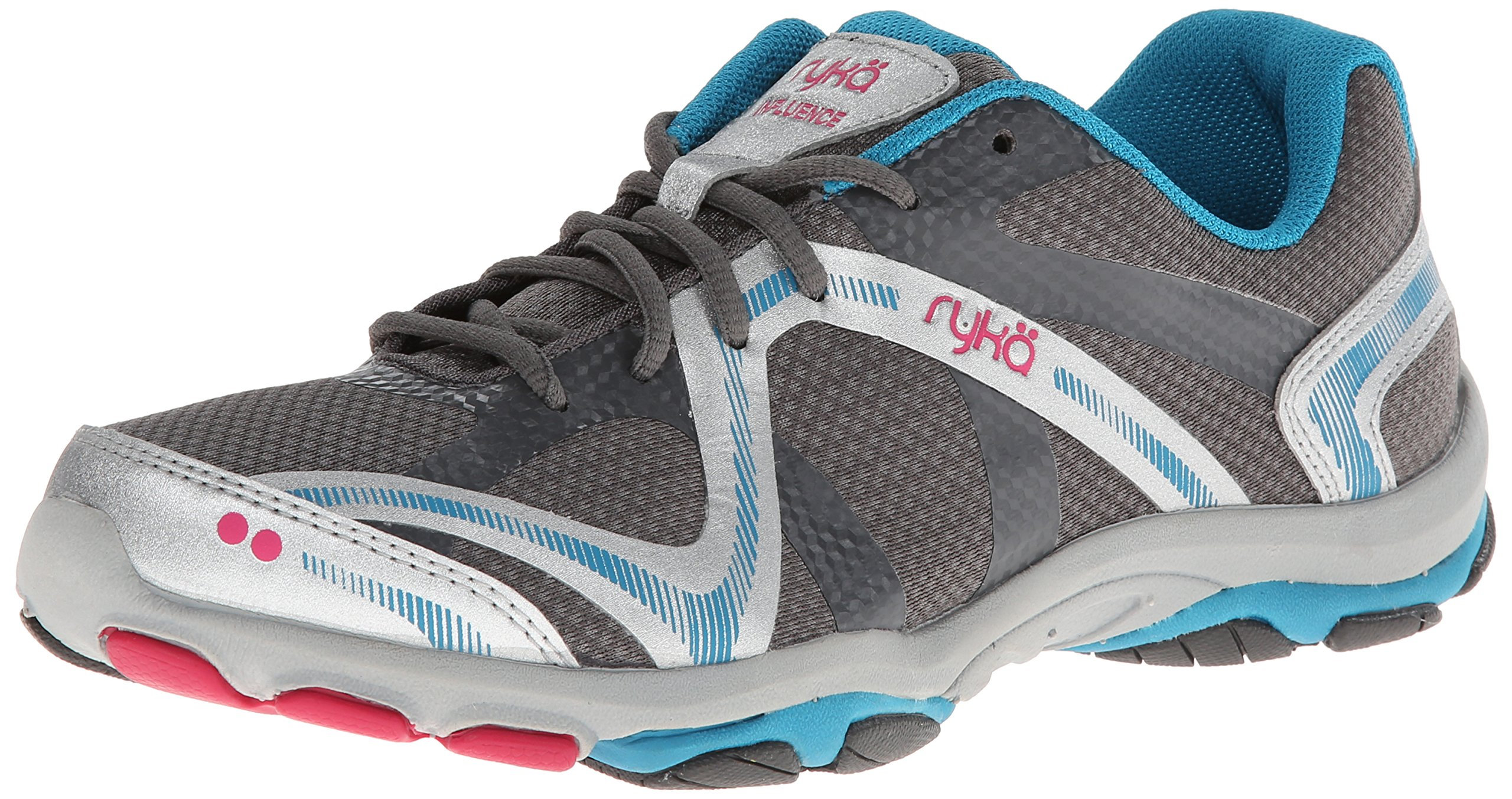 Ryka Women's Influence Training Shoe,Steel Grey/Chrome Silver/Diver Blue/Zuma Pink,9 M US