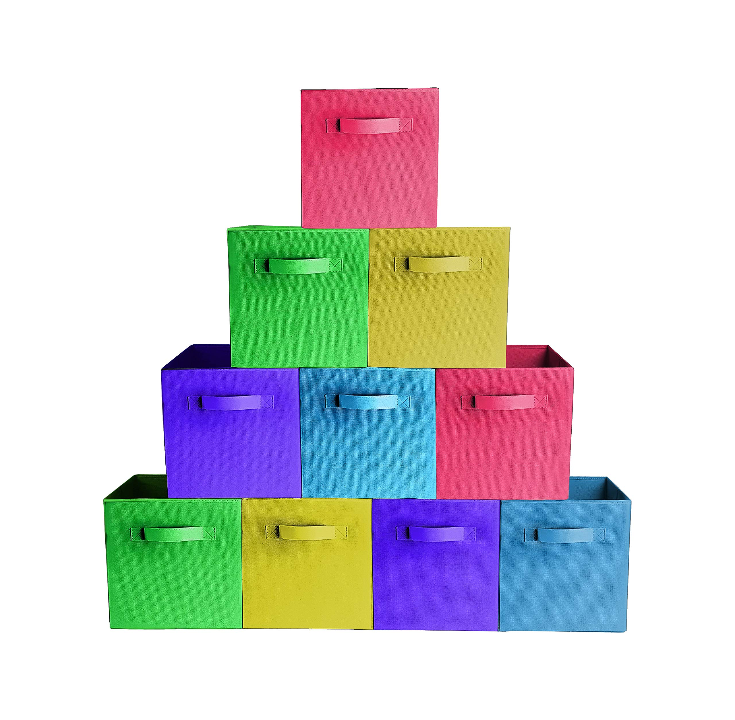 [10-Pack,Bright Mix Colors] Durable Storage Bins, Containers, Boxes, Tote, Baskets| Collapsible Storage CubesHousehold Organization | Fabric & Cardboard| Dual Handle | Foldable Shelves Storages by Prorighty
