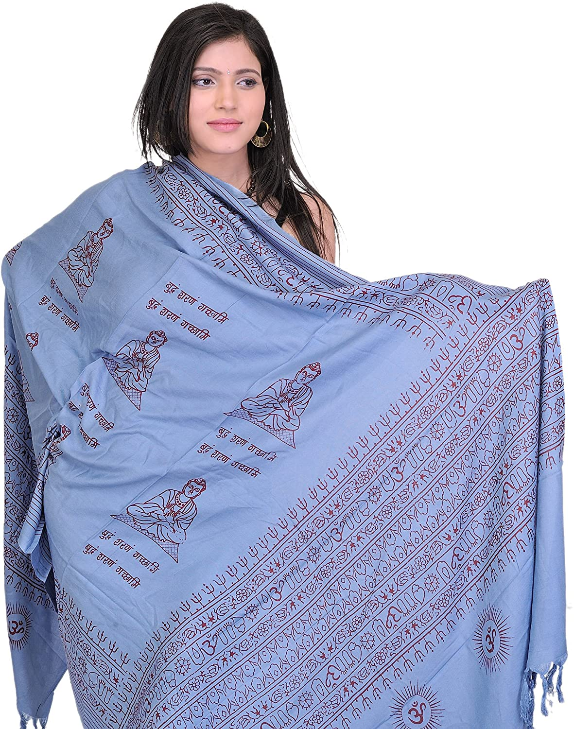 Exotic India Prayer Shawl of Gautam Buddha - Blue AR33