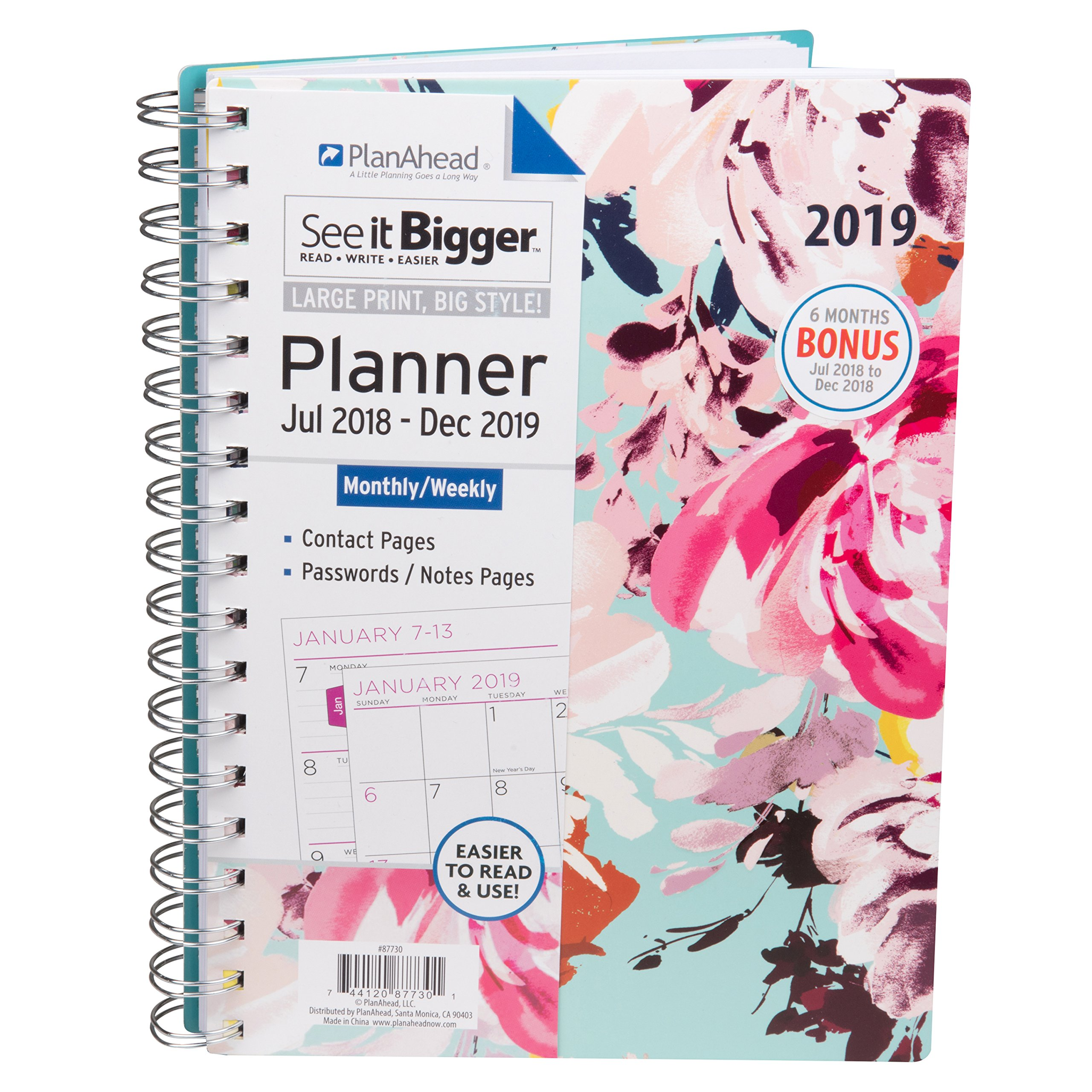 PlanAhead See It Bigger 18 Month Planner, July 2018 - December 2019, Assorted Colors