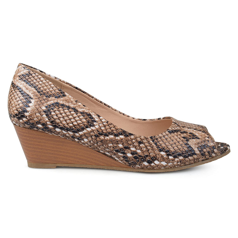 Brinley Co Womens Callyn Faux Leather Comfort-Sole Peep-Toe Wedges B075744JJD 8 B(M) US|Taupe
