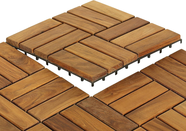 Bare Decor 5 Slat EZ Teak Flooring, 5 Sample Tile, Brown