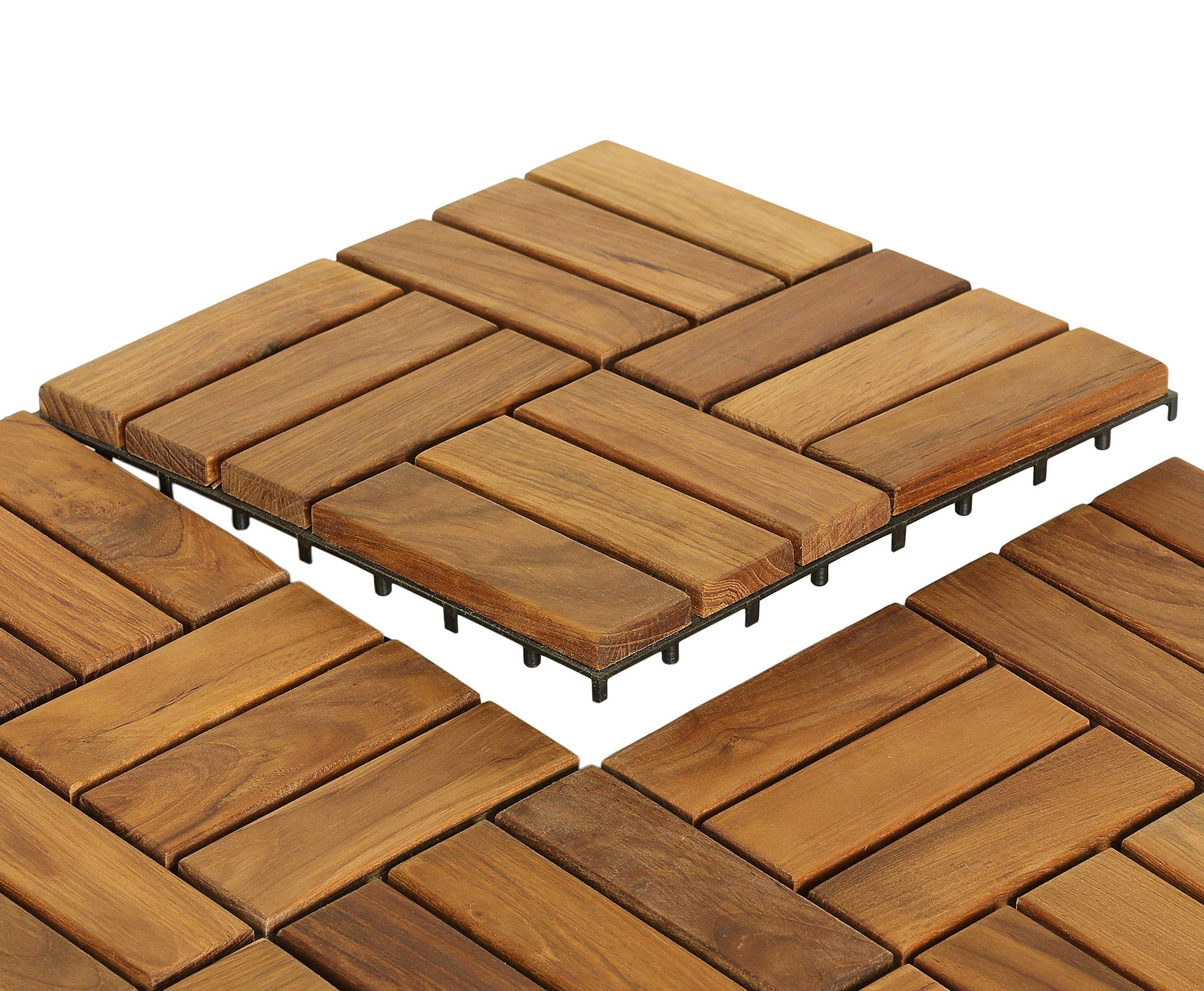 Bare Decor EZ-Floor in Solid Teak Wood, 1 TILE ONLY, Parquet