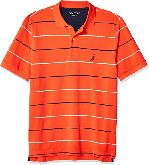 Nautica Classic Fit Short Sleeve 100% Cotton Pique Stripe Polo ...