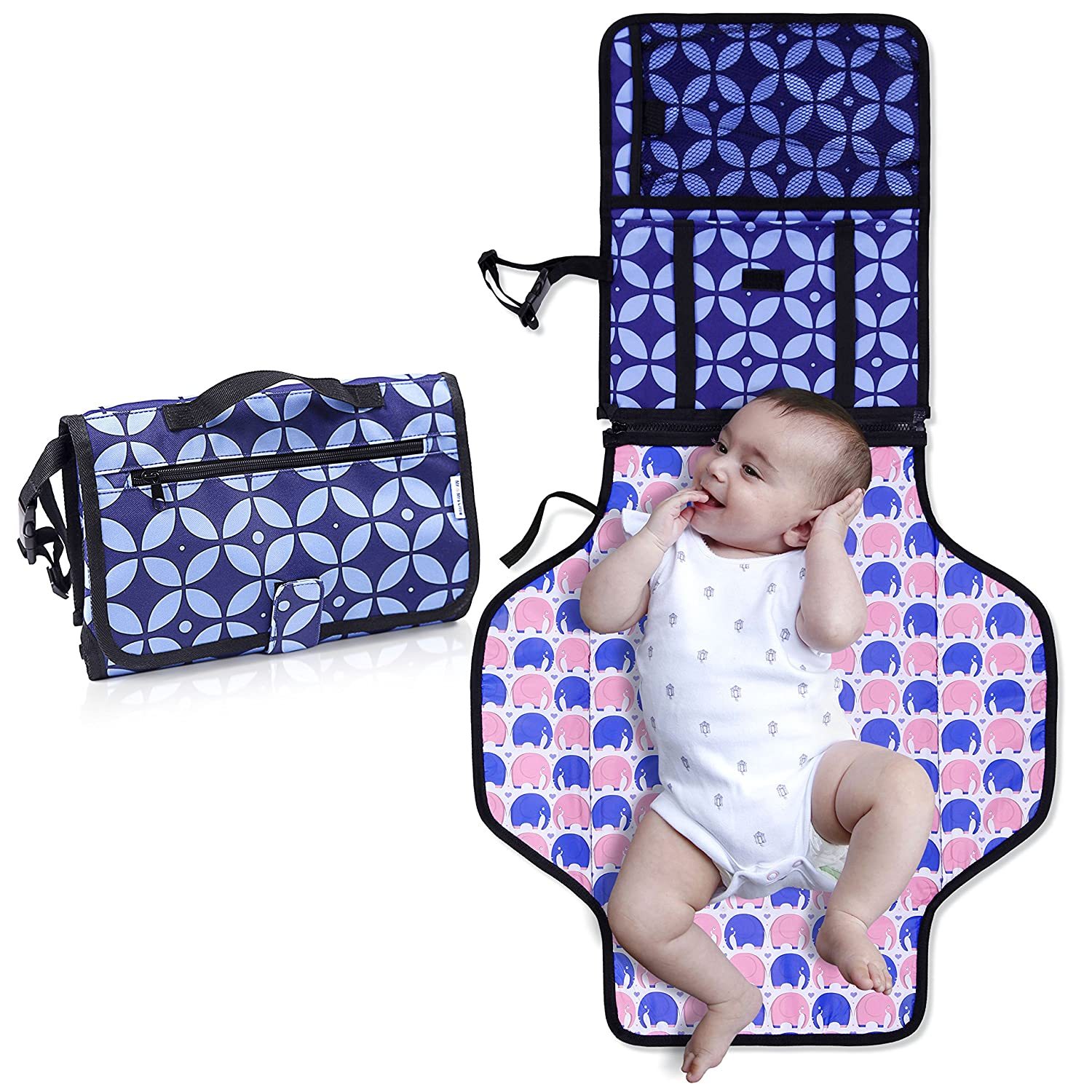 Diaper Changing Pad with Bonus Loop for Toys- Portable Diaper Changing Kit for Dads & Moms -Changing Station Organizer for Outdoor & Travel - Play Mat On The Go- Perfect Baby Shower Gift Mr&Mrs Little