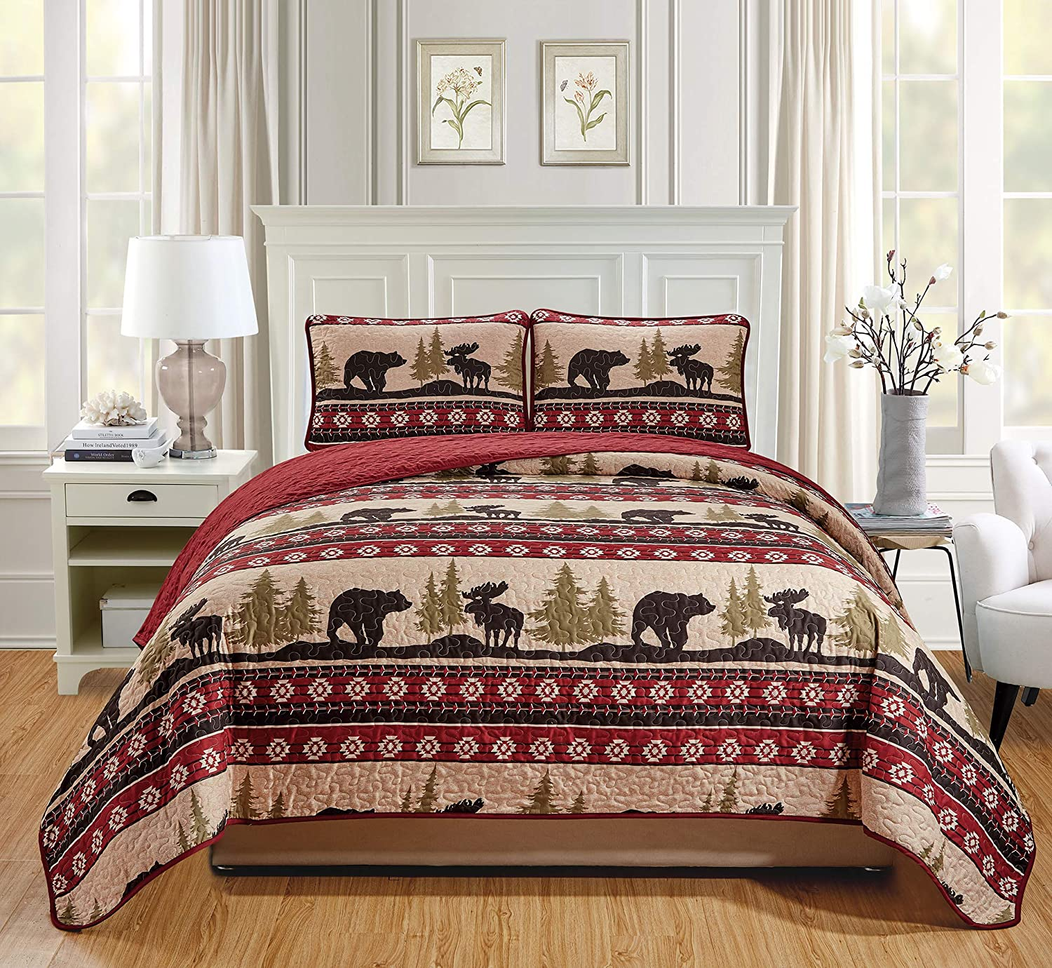 Rustic Western Southwestern Bedspread Set with Native American Designs Grizzly Bears and Moose Roaming The Great American Outdoors Pine Forest (Forest Bear - Twin)
