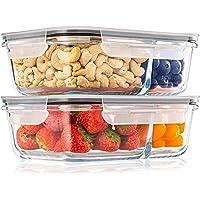 Pack 2 Recipientes de Cristal para Alimentos, 2 Compartimentos Herméticos, Tamaño XL 1040ml - Recipiente Cristal sin BPA…