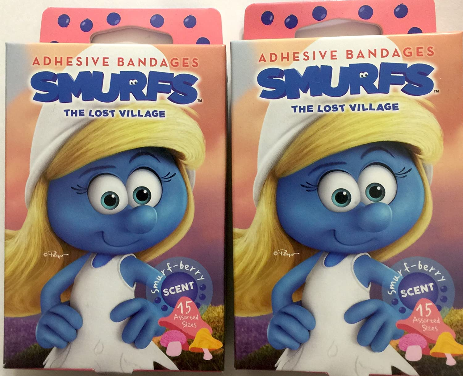 Amazon Com The Smurfs 2 Boxes Of 15 Bandages 30 Total Smurf Berry Scented Smurfette Adhesive Bandages 2 Sizes Everything Else
