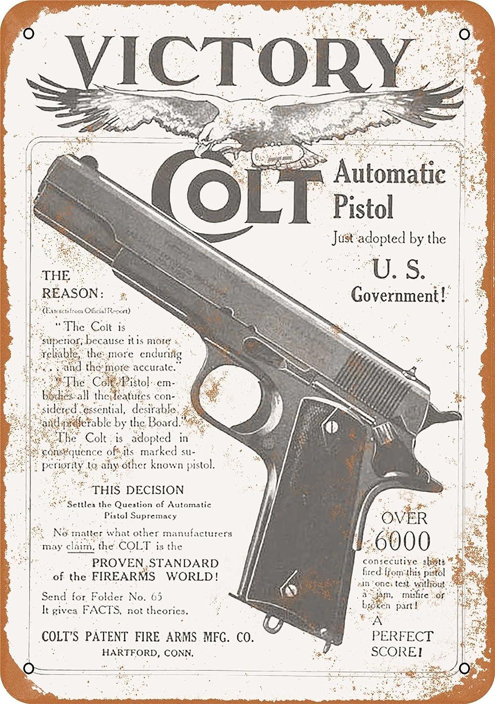 Colt Firearms Revolver Automatic Pistol Guns Collectible Tin Advertising Signs