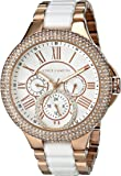 Vince Camuto Women's VC/5180WTRG Swarovski Crystal Accented Multi-Function Rose Gold-Tone White Ceramic Bracelet Watch