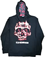 The Walking Dead Flaming Zombie Skull Graphic Zipper Hoodie