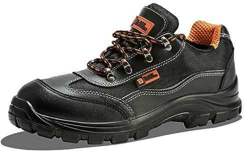 para Hombre Botas de Seguridad (Puntera de Acero, Calzado de Trabajo Tobillo Zapatillas Hiker Acero Mid Suela protección Negro Martillo 8821