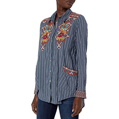 3J Workshop Women's Cotton Pinstripe Smock Shirt with Embroidery at Amazon Women's Clothing store