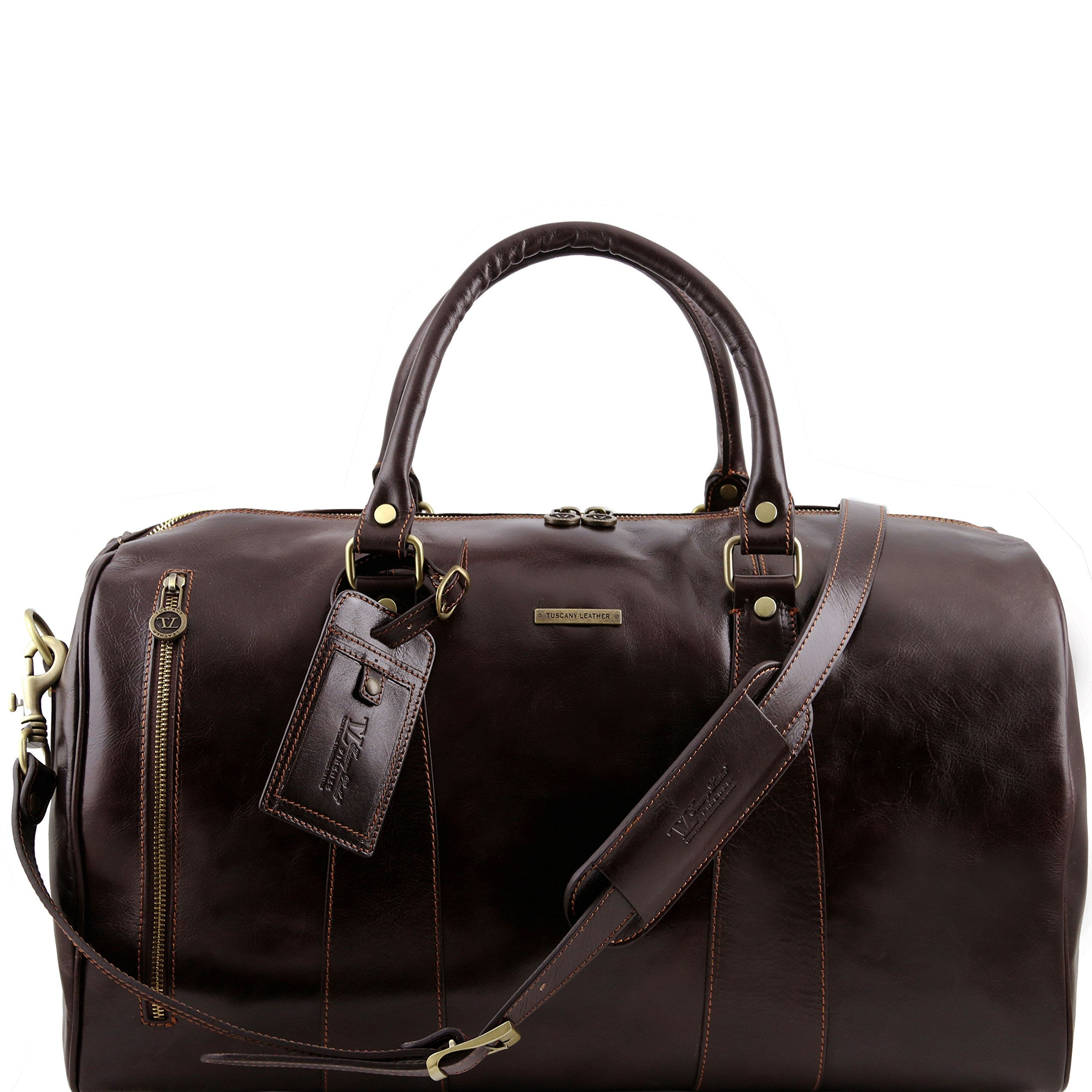 Tuscany Leather TL Voyager Travel leather duffle bag - Large size Dark Brown