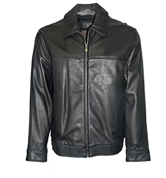DOCKERS Men&39s Leather Bomber Jacket-Black-XL at Amazon Men&39s