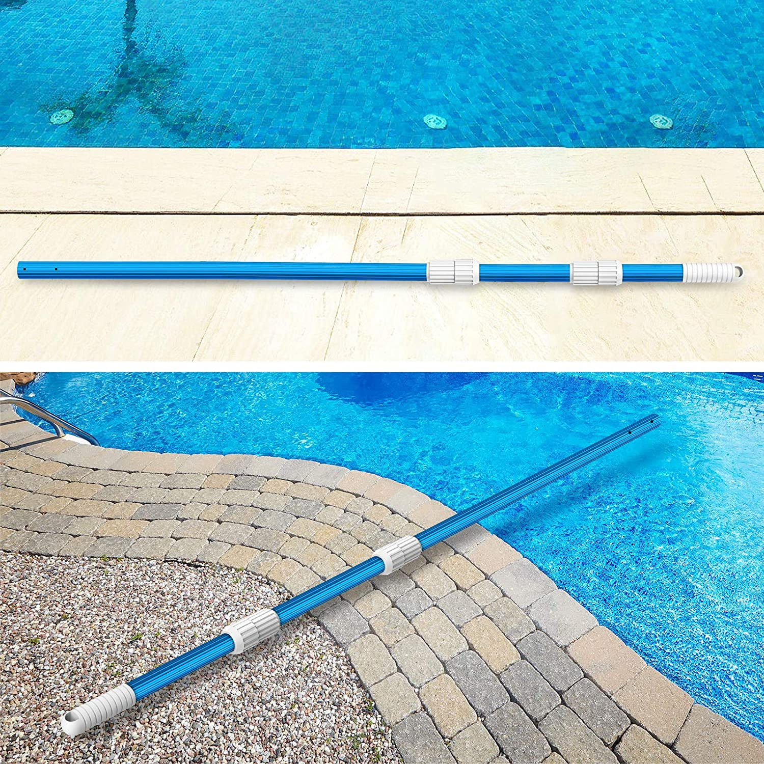 Brushes Vacuum Heads with Hoses BLIKA 16.5 Foot Blue Aluminum Telescopic Swimming Pool Pole Adjustable 3 Piece from 6.5 to 16.5ft Extension 1.30mm Thickness Rakes Attach Connect Skimmer Nets