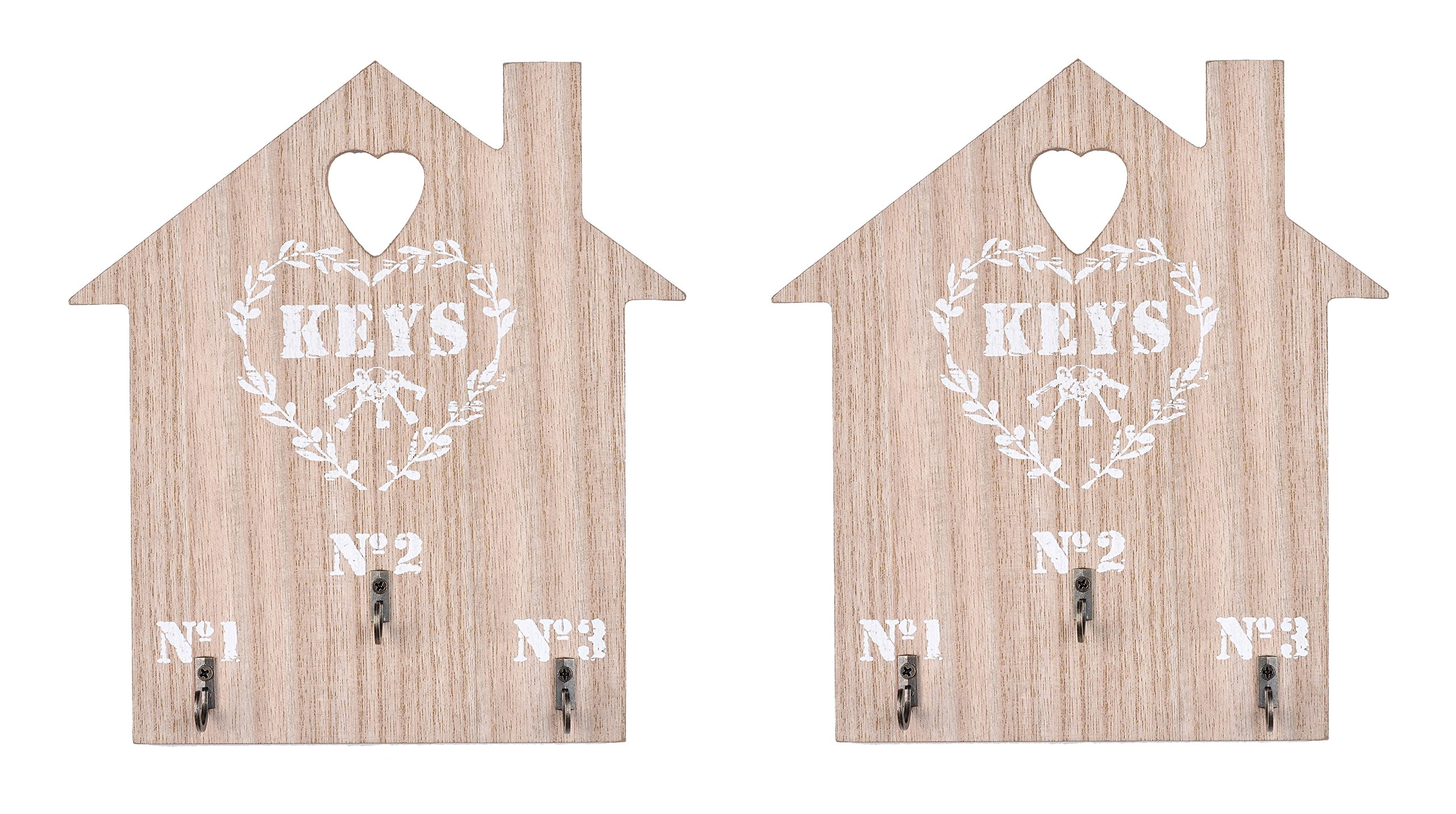 House Shaped Wood Cut-Out Key Holder Organizer - Wall Mount(Package of 2)