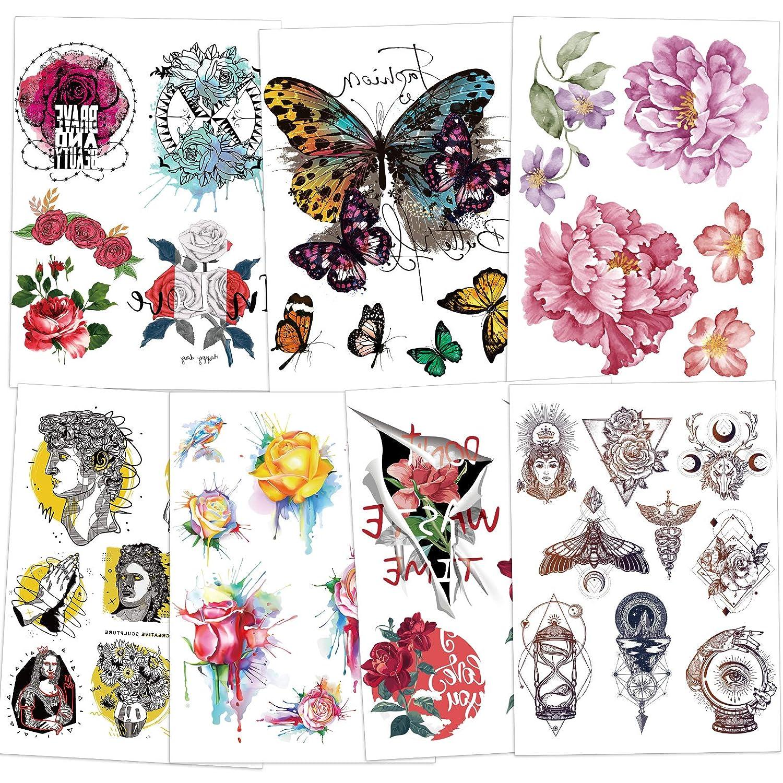 Rainbow Temporary Tattoos, Konsait Butterfly Flower Rainbow Tattoos Waterproof Body Art Sticker for Girls Boys Children's Birthday Party Favors Bag Filler Gift, 7 Sheets