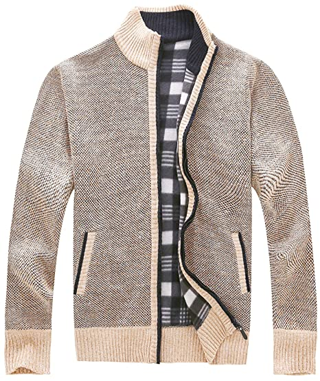 538900935f8 Vcansion Men's Classic Long Sleeve Full Zip Up Soft Plus Knitted Fleece  Cardigan Sweaters