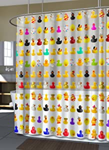 Splash Home Peva 4G Duckies Curtain Liner Design for Bathroom Showers and Bathtubs Free of PVC Chlorine and Chemical Smell-Eco-Friendly-100% Waterproof, 72 X 70 inch-Multi, 70 x 72 Inch