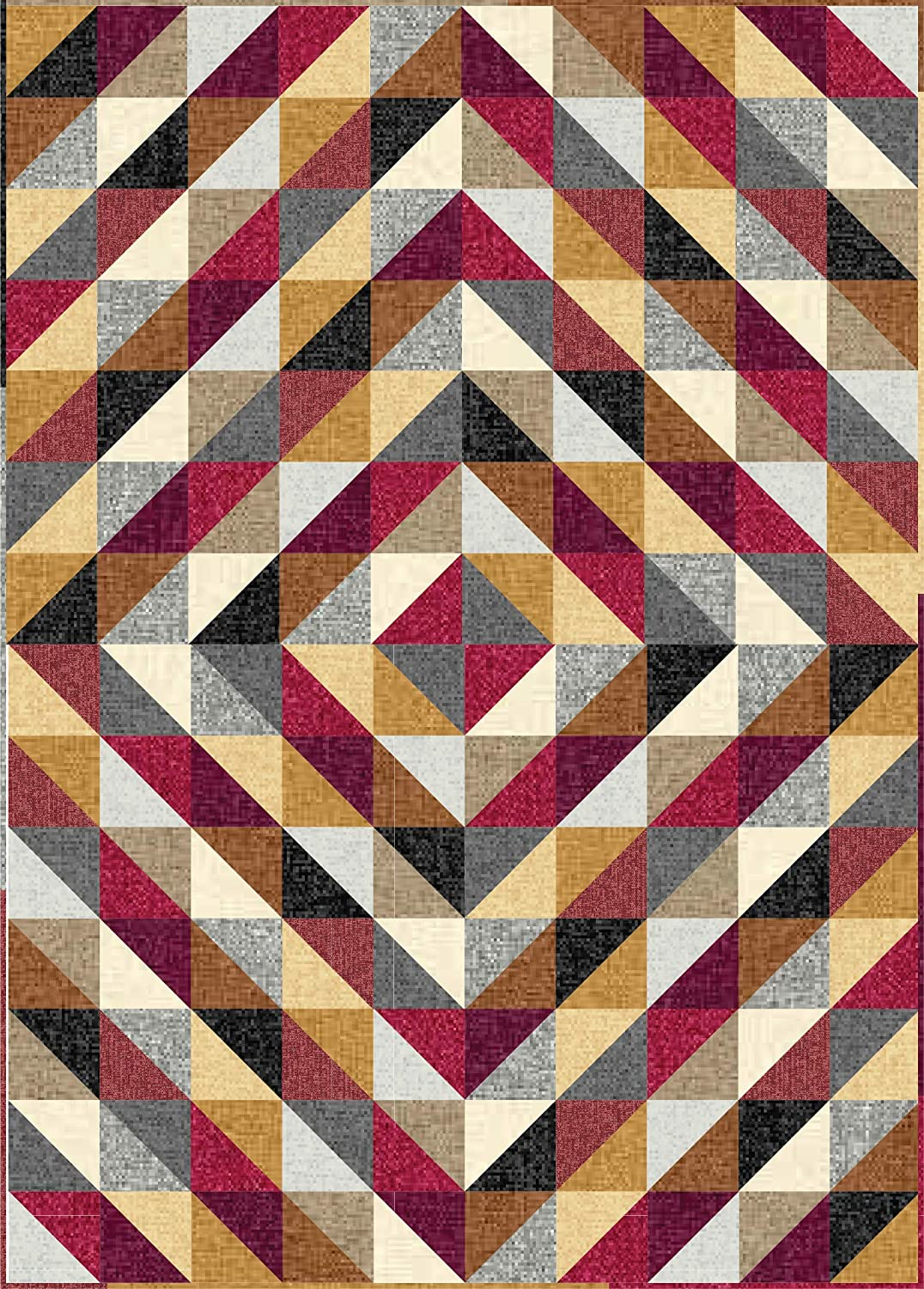 Connecting Threads Beginner Quilt Kit - Half-Square Triangle Fun (Faux Linen Tonals - Warm)