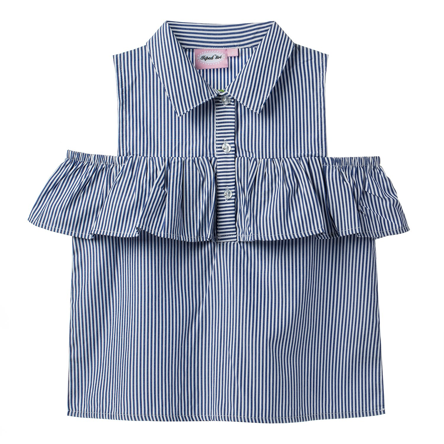 Isped Girls Striped Sleeveless Shirts with Ruffle Summer Casual Blouses Blue Size 8Y