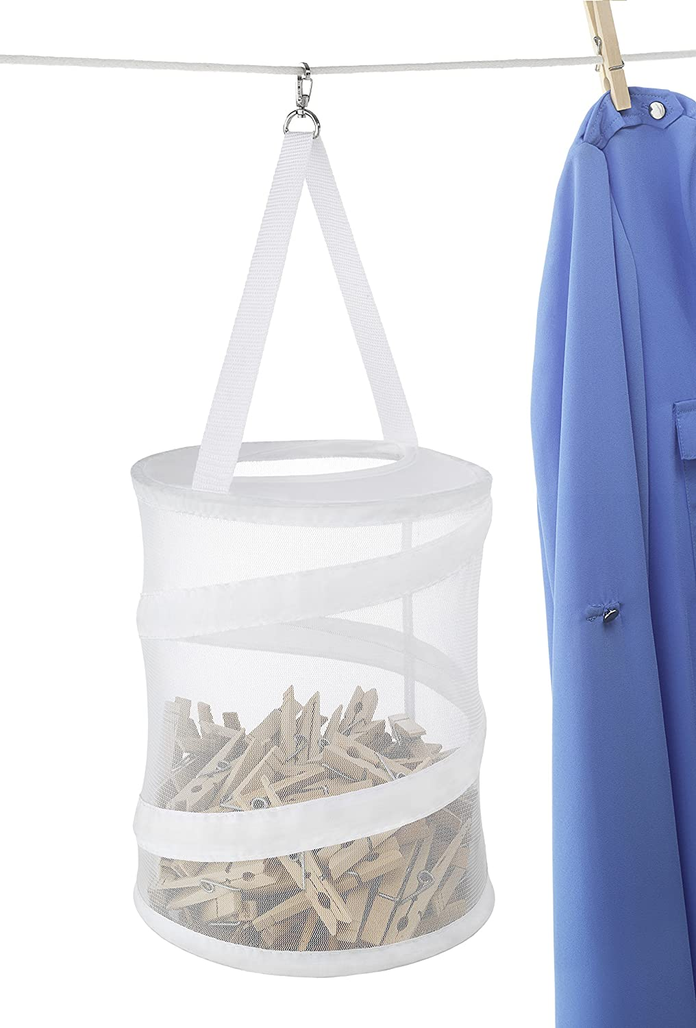 Whitmor Pop and Fold Clothespin Bag White