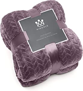 Kingole Flannel Fleece Luxury Throw Jacquard Weave Blanket, Lavender Twin Size Leaf Pattern Cozy Couch/Bed Super Soft and Warm Plush Microfiber 350GSM (66 x 90 inches)