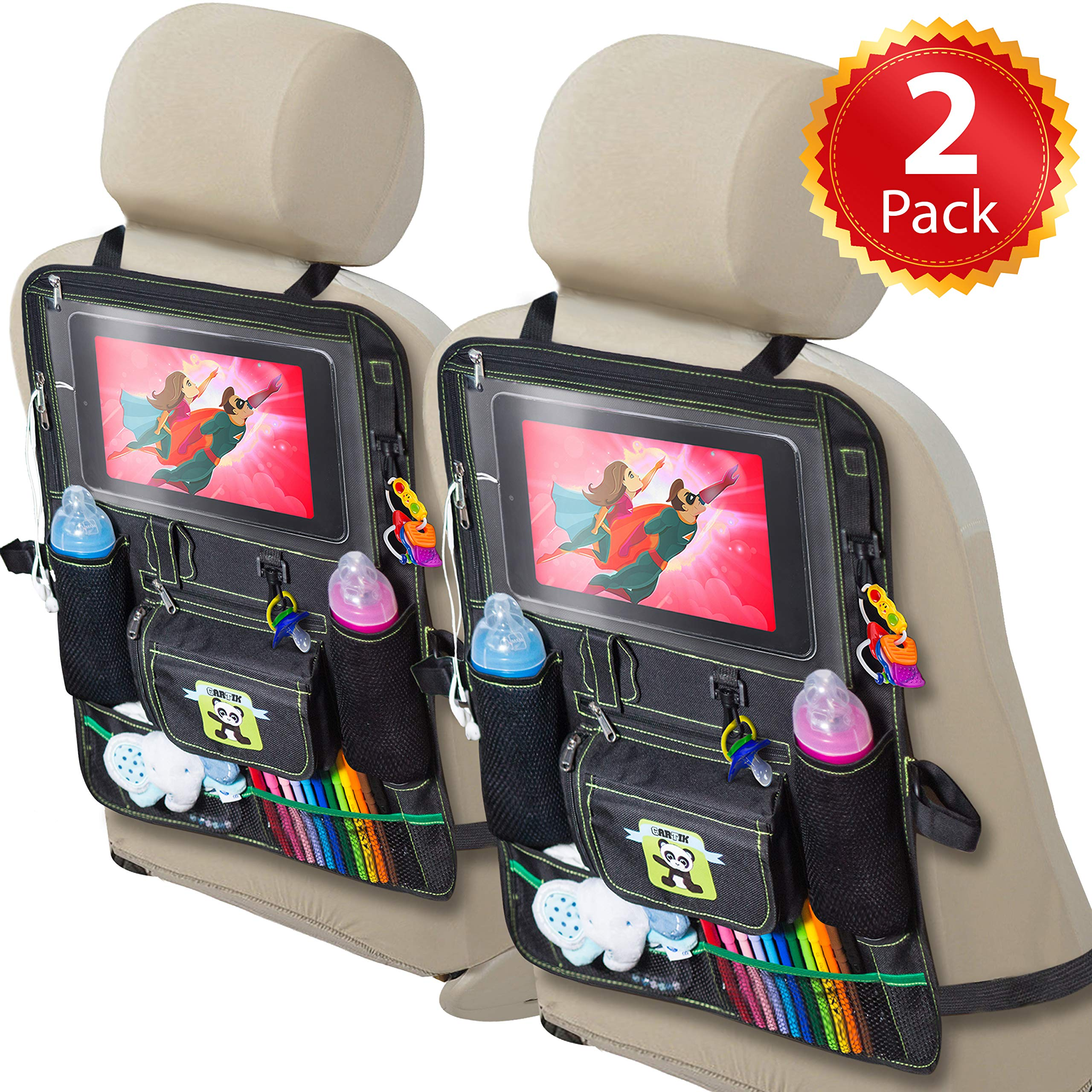 Cartik 2 Pack Backseat Car Organizer for Kids, Babies and Toddlers, with Tablet Holder by iPad Touch Screen, Fit to Baby Stroller, Large Storage, Kick Mat, Back Seat Protector, Organizer eBook by Cartik