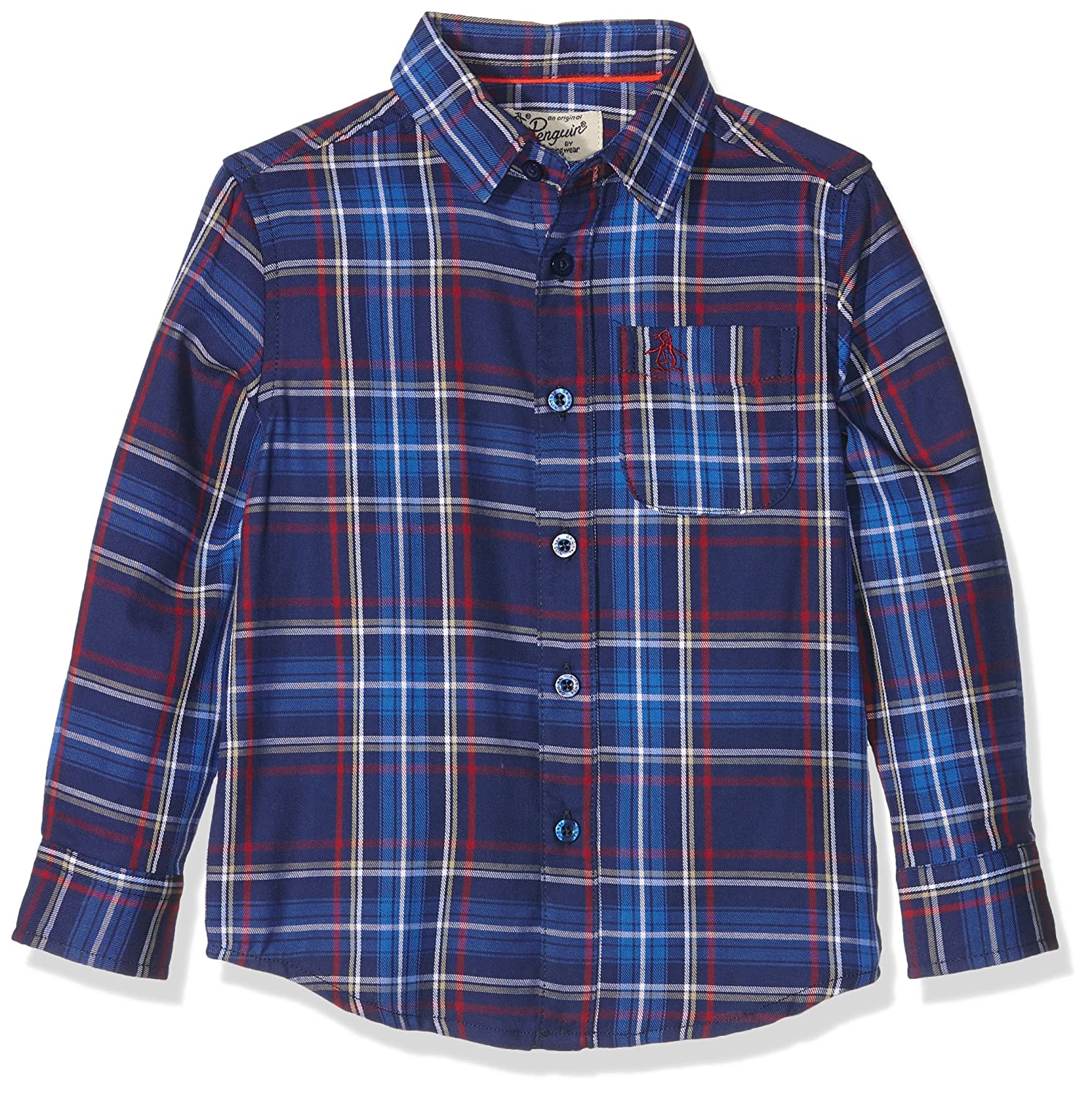 Original Penguin Jungen Hemd Y/D Twill Plaid with Slub Long Sleeve