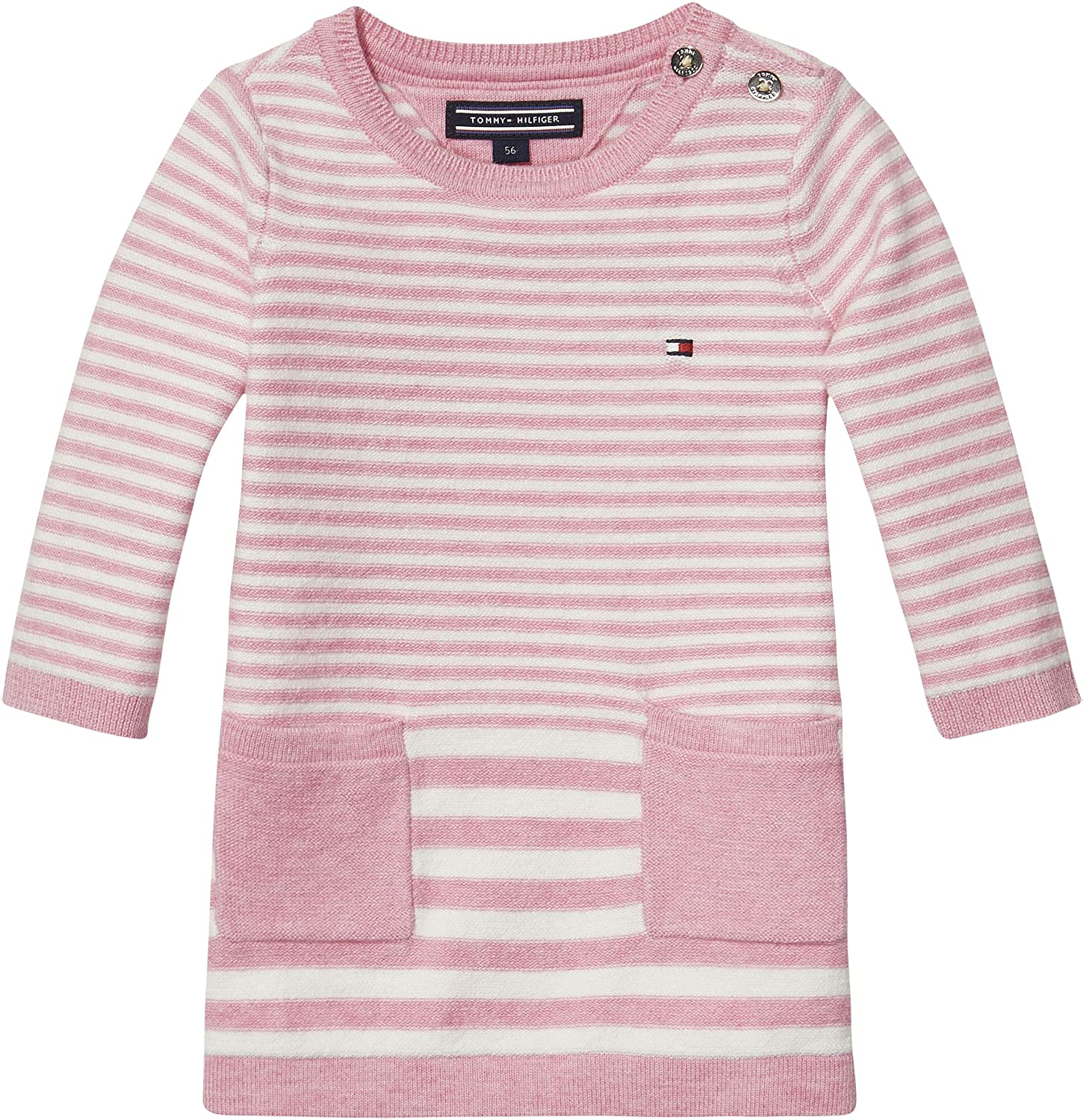 265eaf35f Tommy Hilfiger Striped Sweater Dress for Newborn Baby Girls - 0 Months,  Pink Heather/Marshmallow: Amazon.ae