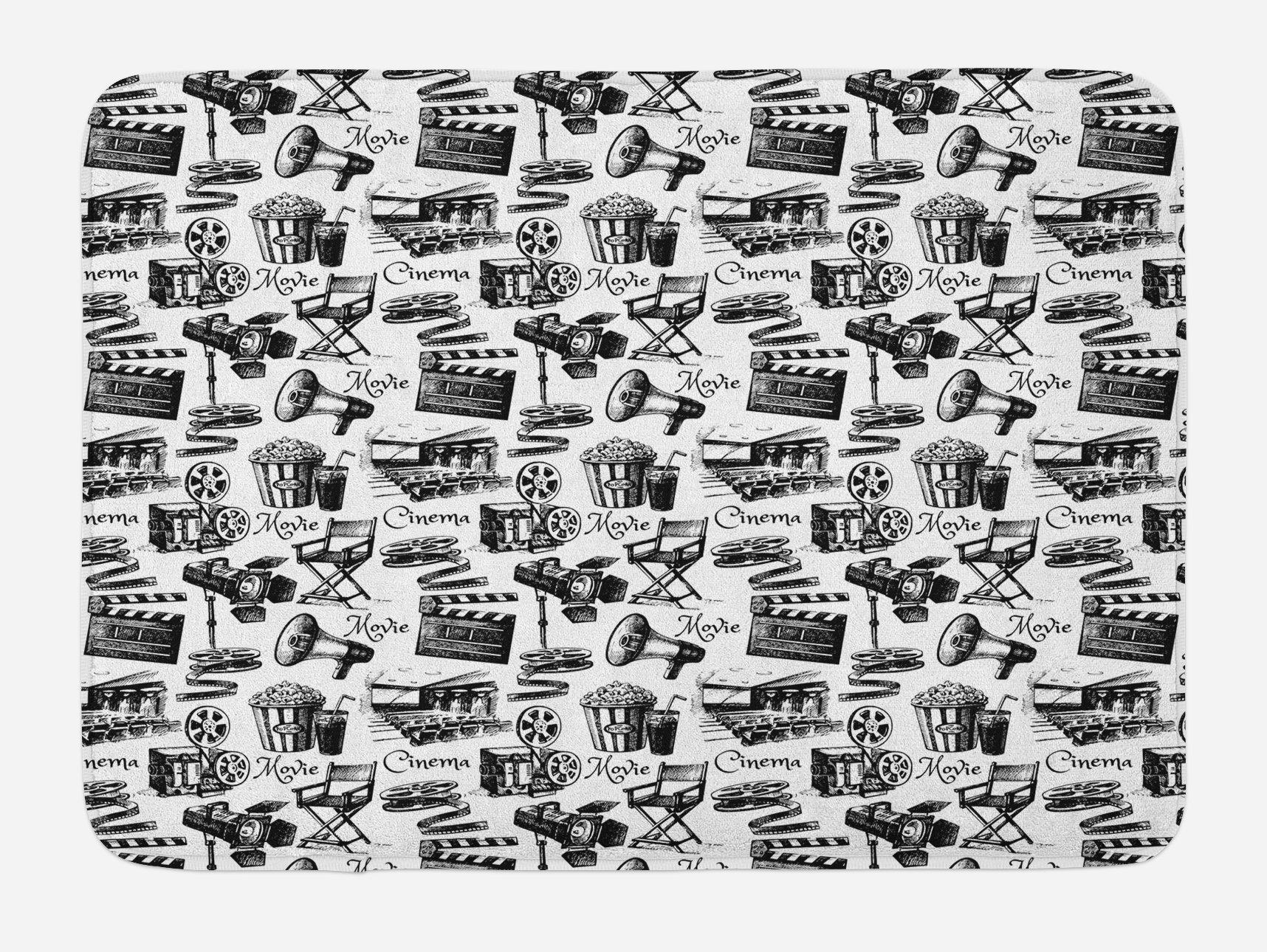 Lunarable Movie Bath Mat, Vintage Artful Film Cinema Icons Motion Camera Action Record Graphic Style Print, Plush Bathroom Decor Mat with Non Slip Backing, 29.5 W X 17.5 W Inches, Black White