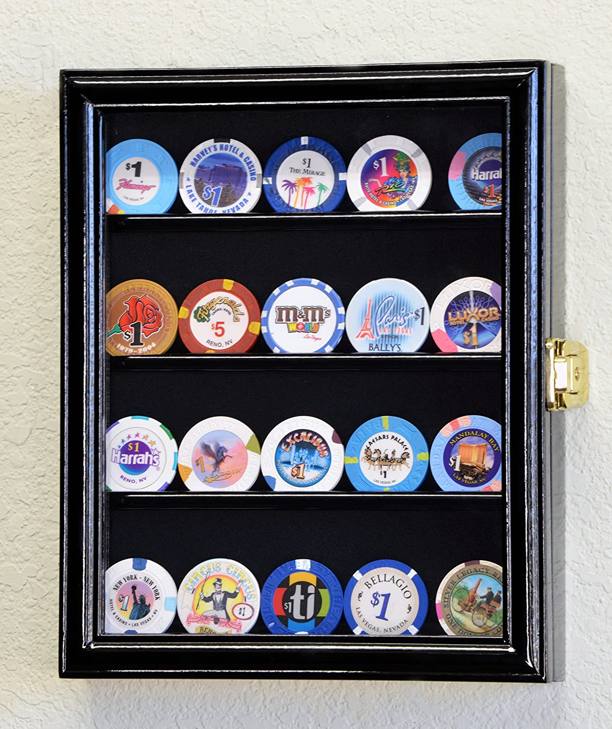 XS Military Challenge Coin Display Case Cabinet Holder Rack Box w/UV Protection -Black Finish