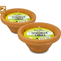 Hyoola Citronella Candles in Hand Painted Terra Cotta Bowl - 2 Pack - 12 Hour - Large Flame, Insect and Mosquito…