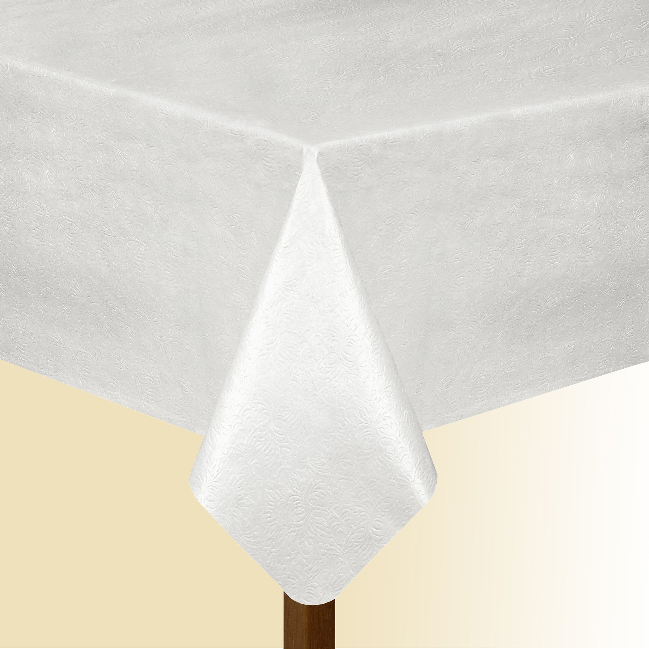 Elrene Home Fashions Deluxe Heavy Duty Table Pad Protector Cushioned Flannel Backing, 52'' x70'', White by Elrene (Image #3)