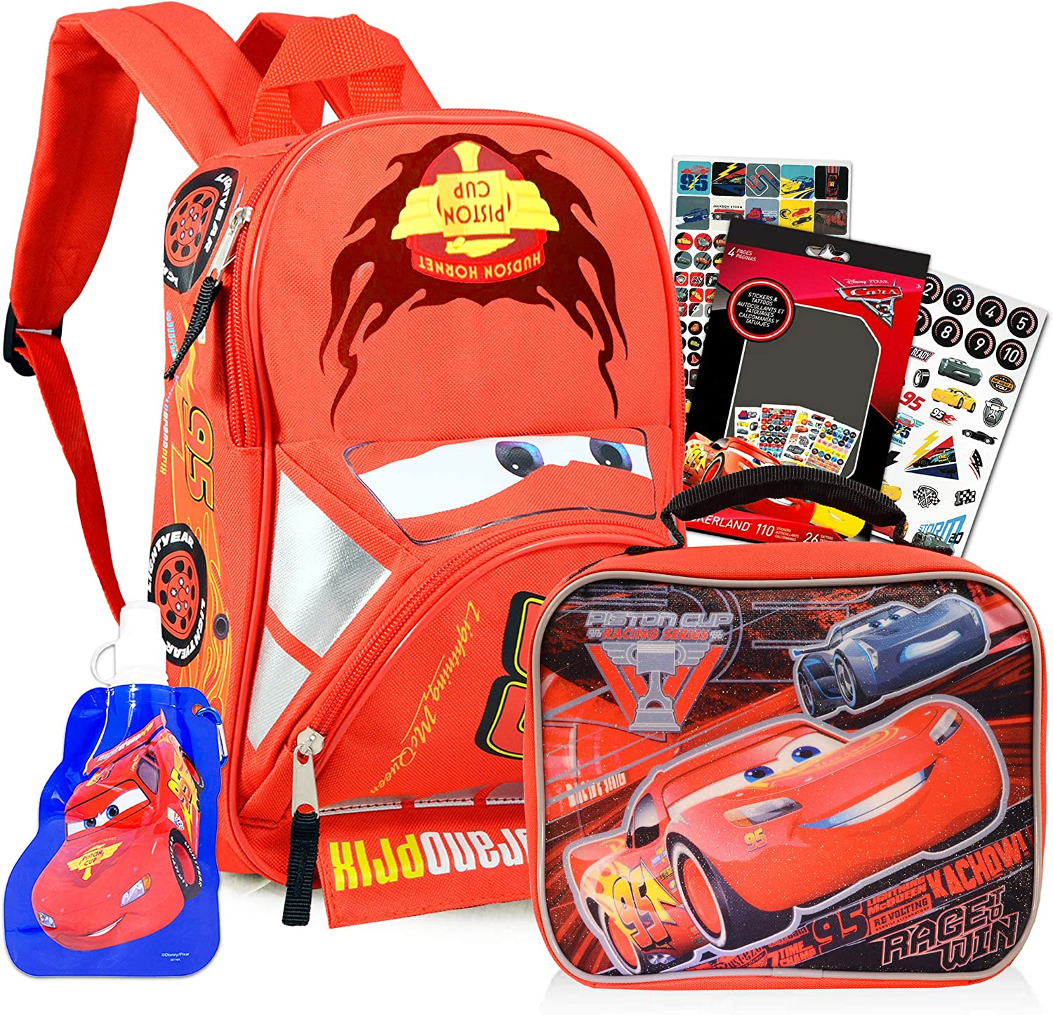 Water Bottle and Stickers Disney Cars Backpack with Lunch Box for Preschool Toddler Kindergarten Boys Girls 11 Mini Backpack Bundle with Lunchbox